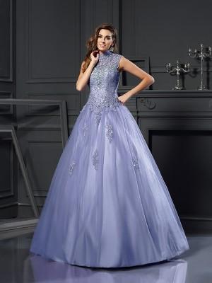Ball Gown High Neck Beading Sleeveless Long Net Quinceanera Dresses