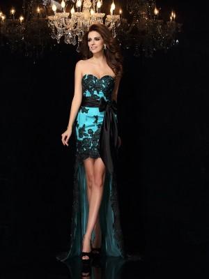 Sheath/Column Sweetheart Bowknot Sleeveless High Low Satin Dresses