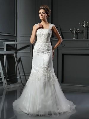 Trumpet/Mermaid Straps Applique Sleeveless Long Satin Wedding Dresses