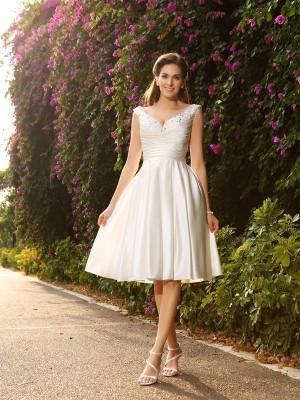 A-Line/Princess V-neck Beading Sleeveless Short Satin Wedding Dresses