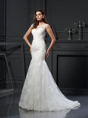 Trumpet/Mermaid Scoop Applique Short Sleeves Long Tulle Wedding Dresses