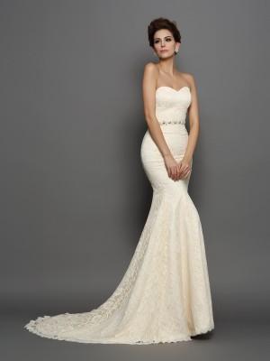 Trumpet/Mermaid Sweetheart Bowknot Sleeveless Long Satin Wedding Dresses