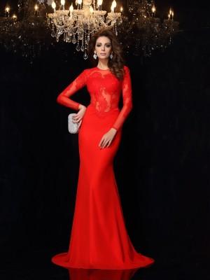 Sheath/Column Scoop Lace Long Sleeves Long Chiffon Dresses