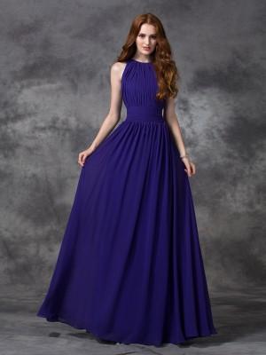 A-line/Princess Jewel Ruched Sleeveless Long Chiffon Bridesmaid Dresses
