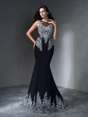 Trumpet/Mermaid Scoop Applique Sleeveless Long Chiffon Dresses
