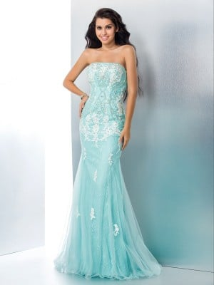 Trumpet/Mermaid Strapless Applique Sleeveless Long Lace Dresses