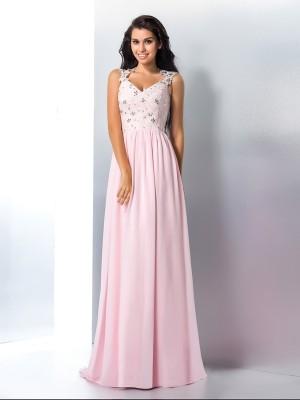 A-Line/Princess V-neck Applique Sleeveless Long Chiffon Dresses