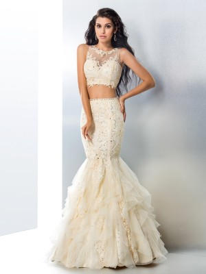 Trumpet/Mermaid Sheer Neck Beading Sleeveless Long Tulle Two Piece Dresses