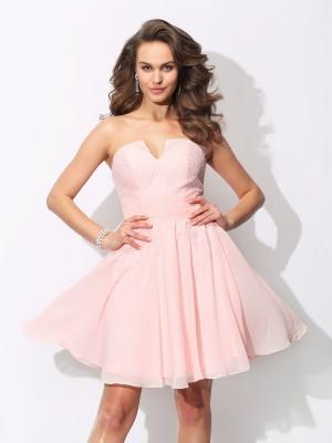 A-Line/Princess Sweetheart Ruffles Sleeveless Short Chiffon Bridesmaid Dresses