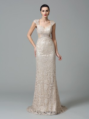 Sheath/Column Straps Sleeveless Long Lace Dresses