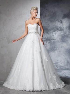 Ball Gown Sweetheart Applique Sleeveless Long Net Wedding Dresses