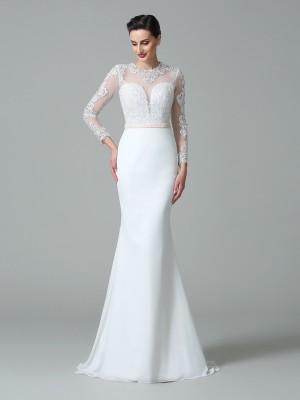 Trumpet/Mermaid Jewel Lace Long Sleeves Long Satin Wedding Dresses