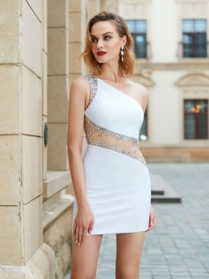 Sheath/Column One-Shoulder Beading Sleeveless Short/Mini Net Dresses