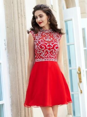 A-Line/Princess High Neck Sleeveless Beading Short/Mini Chiffon Dresses