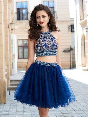 A-Line/Princess Jewel Sleeveless Beading Short/Mini Net Dresses