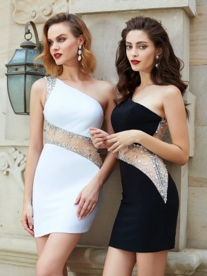 Sheath/Column Sleeveless One-Shoulder Beading Sleeveless Short/Mini Net Dresses