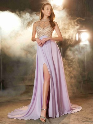 A-Line/Princess High Neck Sleeveless Sweep/Brush Train Crystal Chiffon Dresses