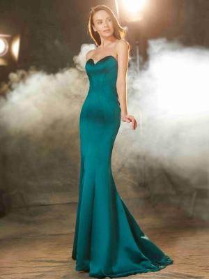 Trumpet/Mermaid Sweetheart Sleeveless Ruched Sweep/Brush Train Satin Dresses