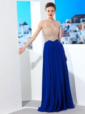 A-Line/Princess Scoop Sleeveless Floor-Length Crystal Chiffon Dresses