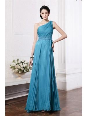 Sheath/Column One-Shoulder Sleeveless Beading Pleats Long Chiffon Bridesmaid Dresses