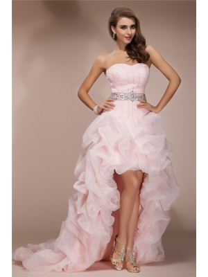 A-Line/Princess Sweetheart Sleeveless High Low Beading Organza Dresses