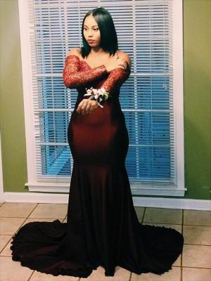 Trumpet/Mermaid Off-the-Shoulder Long Sleeves Applique Court Train Elastic Woven Satin Plus Size Dresses