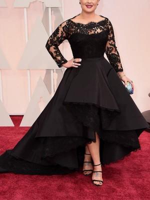 A-Line/Princess Bateau Long Sleeves Lace Asymmetrical Satin Plus Size Dresses
