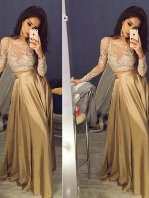 A-Line/Princess Long Sleeves Scoop Satin Applique Floor-Length Two Piece Dresses