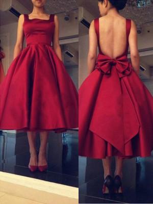 A-Line/Princess Sleeveless Square Bowknot Satin Short/Mini Dresses