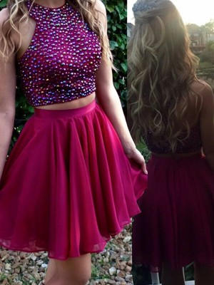 A-Line/Princess Sleeveless Scoop Beading Chiffon Short/Mini Two Piece Dresses