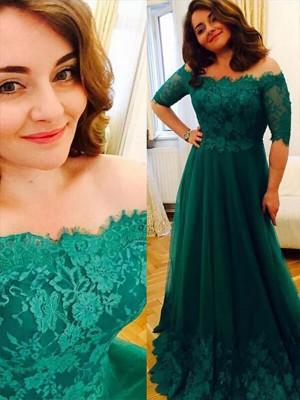 A-Line/Princess Short Sleeves Tulle Off-the-Shoulder Applique Floor-Length Plus Size Dresses