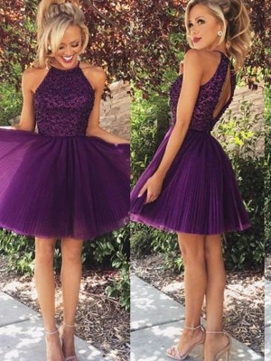 A-Line/Princess Halter Sleeveless Beading Short/Mini Tulle Dresses