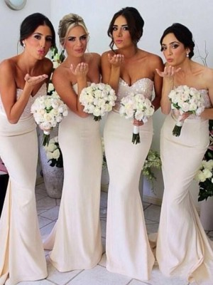 Trumpet/Mermaid Sweetheart Sleeveless Beading Floor-length Satin Bridesmaid Dress