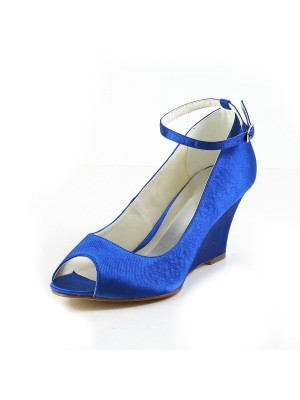 Women's Satin Wedge Heel Wedges Peep Toe Wedges Shoes With Buckle