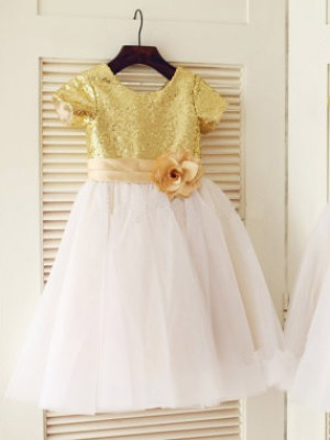A-line/Princess Scoop Short Sleeves Sequin Long Tulle Dresses