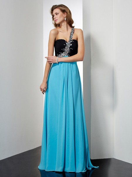 A-Line/Princess Sleeveless One-Shoulder Beading Long Chiffon Dresses