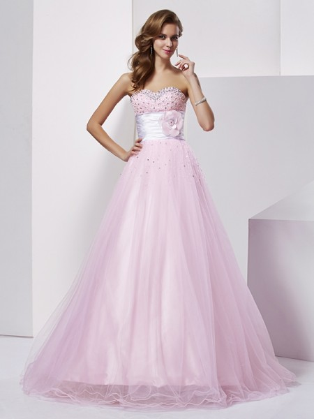 Ball Gown Strapless Sleeveless Beading Long Elastic Woven Satin Quinceanera Dresses