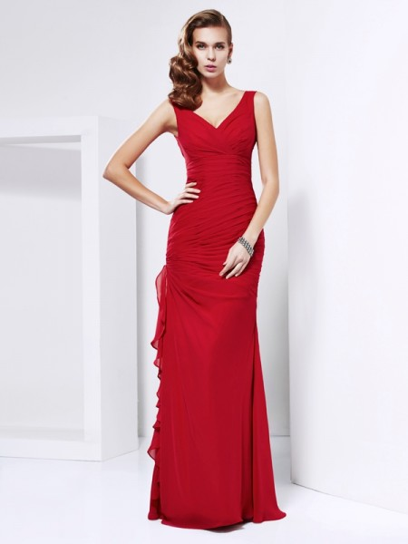 Sheath/Column V-neck Sleeveless Ruched Long Chiffon Dresses