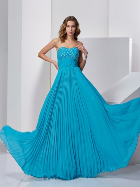 A-Line/Princess Sleeveless Sweetheart Long Beading Chiffon Dresses