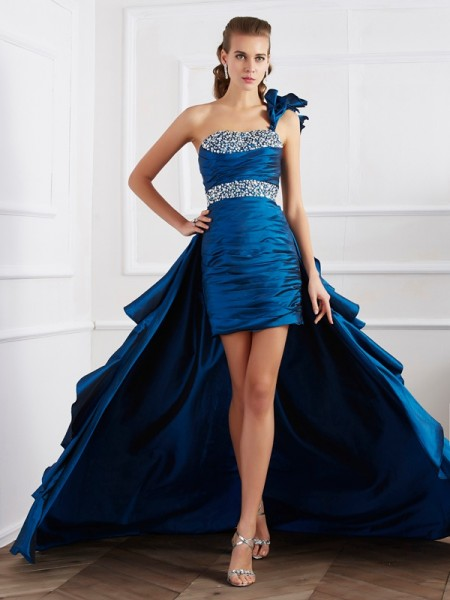 A-Line/Princess One-Shoulder Sleeveless Beading High Low Taffeta Dresses