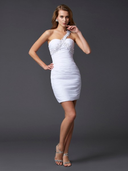 Sheath/Column One-Shoulder Sleeveless Applique Beading Short Chiffon Homecoming Dresses