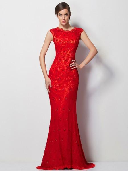 A-Line/Princess Scoop Short Sleeves Applique Long Chiffon Dresses