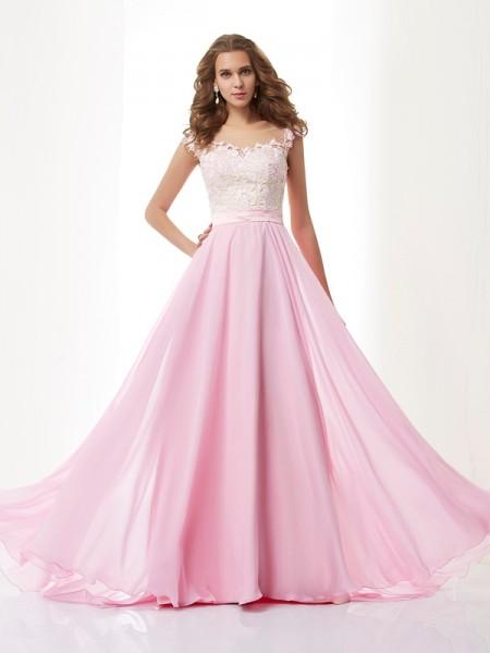 A-Line/Princess Straps Applique Sleeveless Beading Long Chiffon Dresses