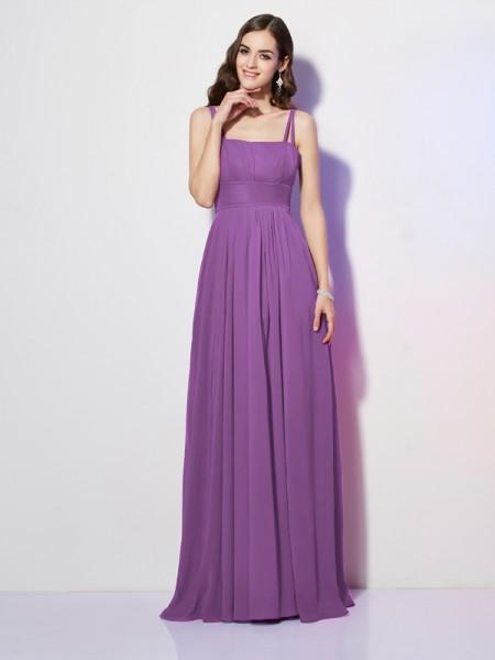 Sheath/Column Spaghetti Straps Sleeveless Pleats Long Chiffon Bridesmaid Dresses