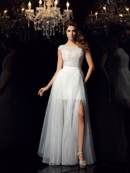 A-Line/Princess Scoop Beading Short Sleeves Long Tulle Dresses
