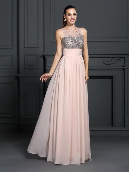 A-Line/Princess Bateau Beading Sleeveless Long Chiffon Dresses