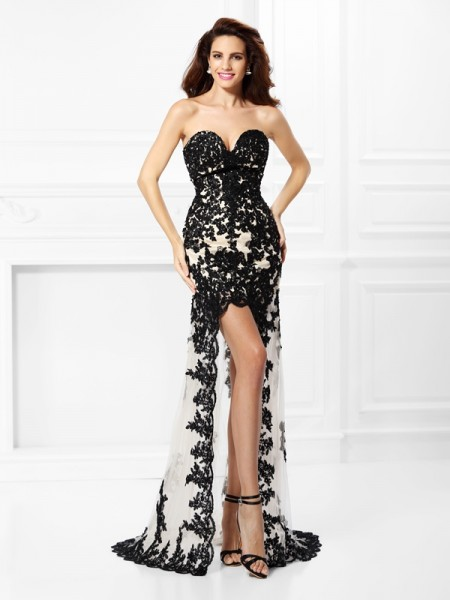 A-Line/Princess Sweetheart Lace Sleeveless High Low Elastic Woven Satin Dresses