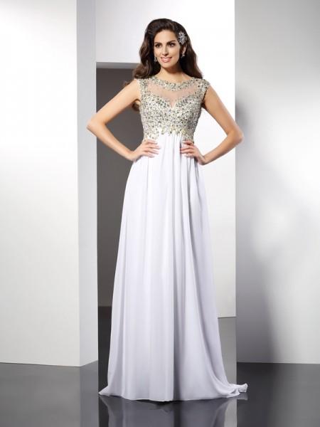 A-Line/Princess Bateau Ruffles Sleeveless Long Chiffon Dresses