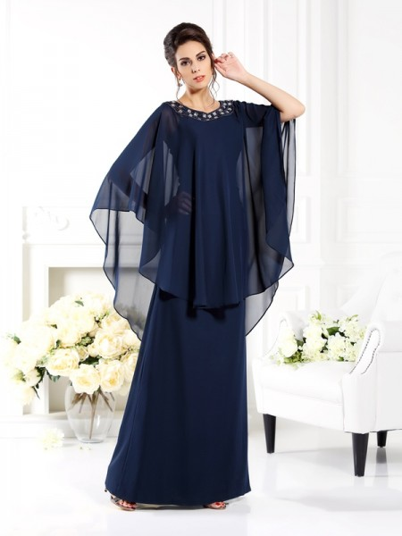 A-Line/Princess Scoop 3/4 Sleeves Long Chiffon Mother of the Bride Dresses