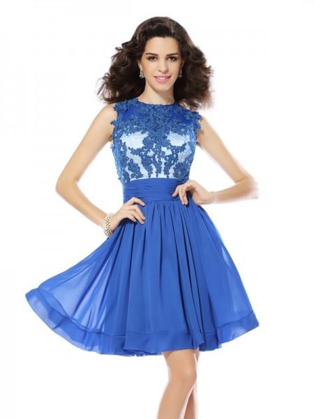 A-Line/Princess Scoop Applique Sleeveless Short Chiffon Cocktail Dresses